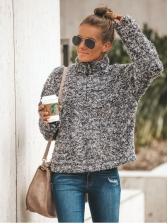 Turndown Neck Plush Thicker Sweatshirt For Women