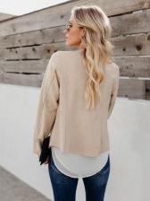 Irregular Long Sleeve Suede Short Coat For Women