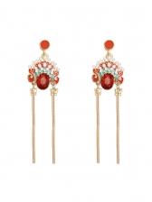 Ruby Peking Opera Design Faux Pearl Earring