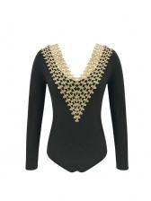 Deep V Neck Smart Waist Black Long Sleeve Bodysuit