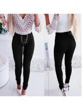 High Waist Lace Up Black Pencil Pants