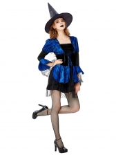 Halloween Contrast Color Patchwork Sexy Witch