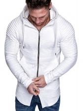 Pleated Shoulder Design Solid Zipper Hoodies