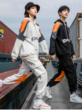 Contrast Color Hooded Long Sleeve Lovers Activewear Sets