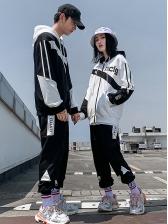 Lovers Letter Contrast Color Hooded Activewear Sets