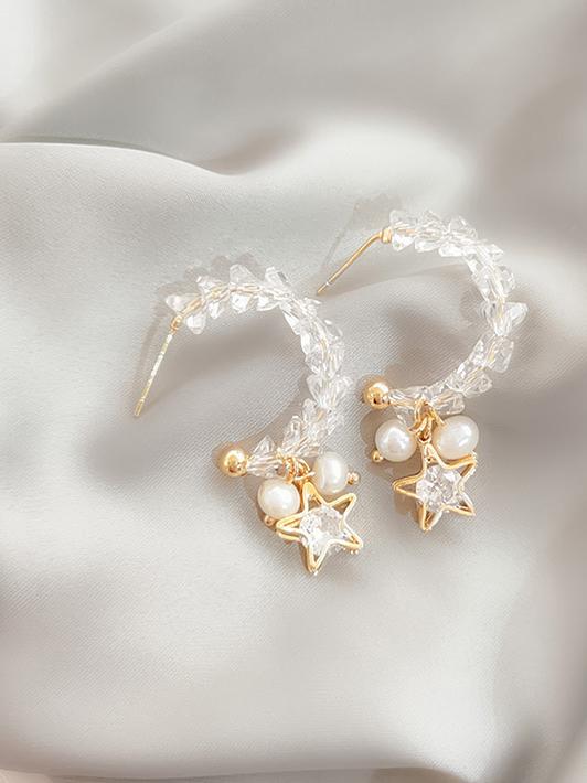 Easy Match Faux Pearl Star Earrings For Women