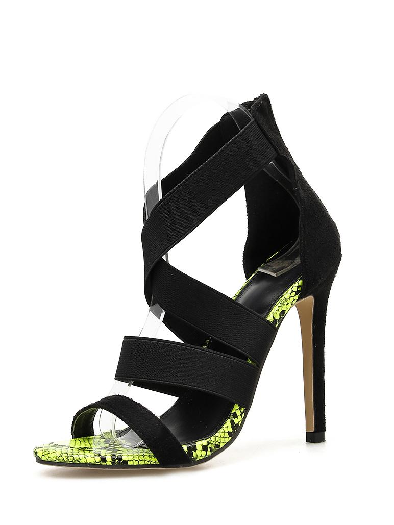 Snake Printed Elastic Cord Zipper Stiletto Sandals