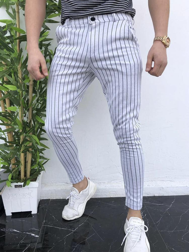 Pinstripes Mid Waist Pencil Pants For Men