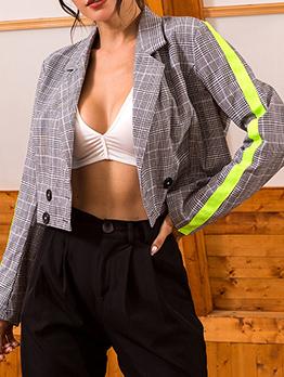 Fluorescent Patchwork Plaid Short Blazer For Women