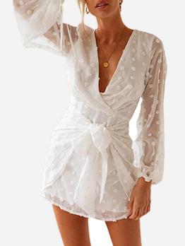 Deep V Neck SwissDot White Long Sleeve Dress
