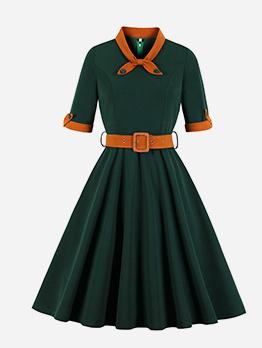 V Neck Colorblock Large Hem Green Dress