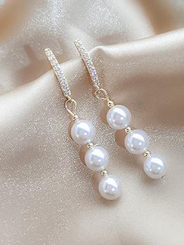 Chic Zircon Tassel Long Pearl Earrings