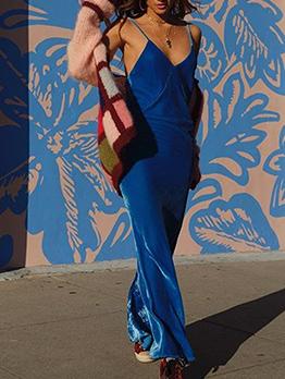 Backless Spaghetti Strap Velvet Long Maxi Dresses