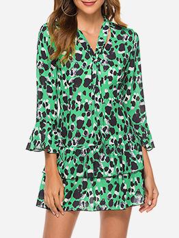 Hot Sale V Neck Flare Sleeve Dots Ladies Dress