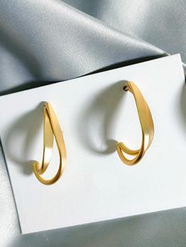 Retro Irregular Metal Gold Stud Earrings