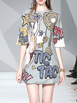 Beading Decor Printed Loose T-Shirt Dress