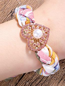 Bohemian Heart Fabric Adjustable Chain Bracelet