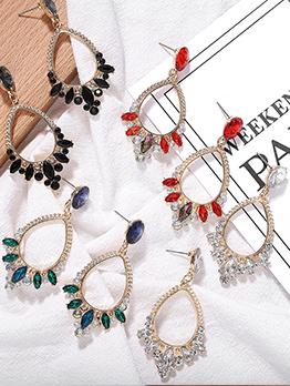 Stylish Ellipse Shape Rhinestone Decor Earrings For Women