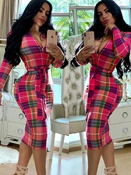 Deep V Neck Zipper Plaid Long Sleeve Bodycon Dress
