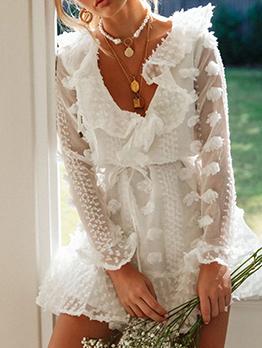 V Neck Jacquard Weave Flounce Hem White Dress