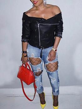 Off Shoulder Pu Black Jackets For Women