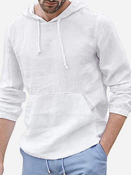 Casual Solid Color Hooded Collar Cotton T Shirt