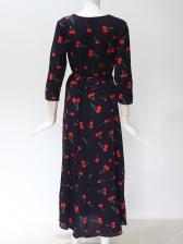 V Neck Cherry Printed Chiffon Maxi Dress