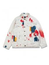 Splashing Paint Short Denim Jacket