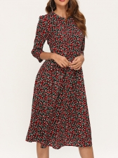 Crew Neck Fitted Printed Long Sleeve Dress Casual