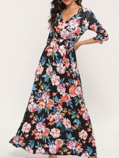 V Neck Tie-Wrap Floral Maxi Dress For Women