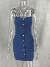 Single-Breasted Sleeveless Denim Dress