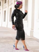 Backless Tassel Hem Black Long Sleeve Sequin Dress