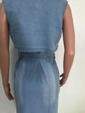 Turndown Neck Tie-Wrap Denim Sleeveless Dress