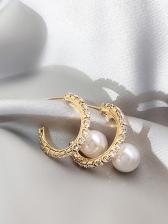 Rhinestone Decor Round Pearl Earrings