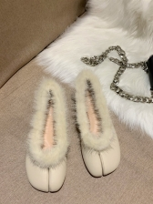 Solid Color Cloven Toes Fuzzy Fur Womens Flats