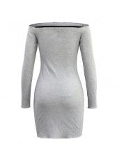 Cold Shoulder Buttons Longline Bodycon Dress