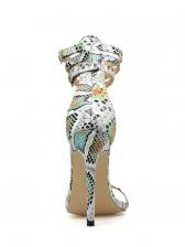 Multiple Buckle Snake Printed Stiletto Heel Sandals