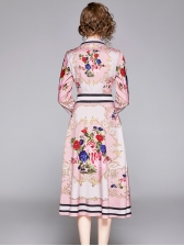 Exquisite Printed Fitted Pink Long Sleeve A-Line Dress