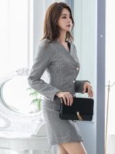 Single-Breasted Houndstooth Blazer Dress
