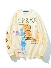 Graffiti Printed Loose Mens Sweatshirts
