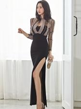 Elegant Gauze Panel Split Hem Evening Dress