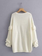 Ruffles Detail Solid Color Loose Knit Sweater