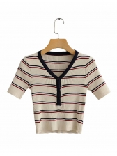 Casual V Neck Button Up Knitted Striped T Shirt