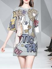 Beading Decor Printed Loose T-Shirt Dress