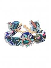 Boho Handmade Crystal Decor Fabric Cuff Bracelet