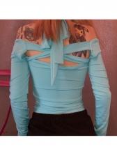 Off Shoulder Skinny Halter Long Sleeve T Shirt