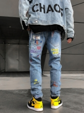 Personalized Smiling Face Ripped Jeans