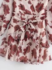 Flowers Printed Tie-Wrap Ruffles Hem Short Dress