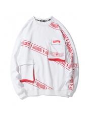 Casual Letter Printed Loose Mens Sweatshirts