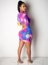 Deep V Neck Colorful Tie Dye Bodycon Dress